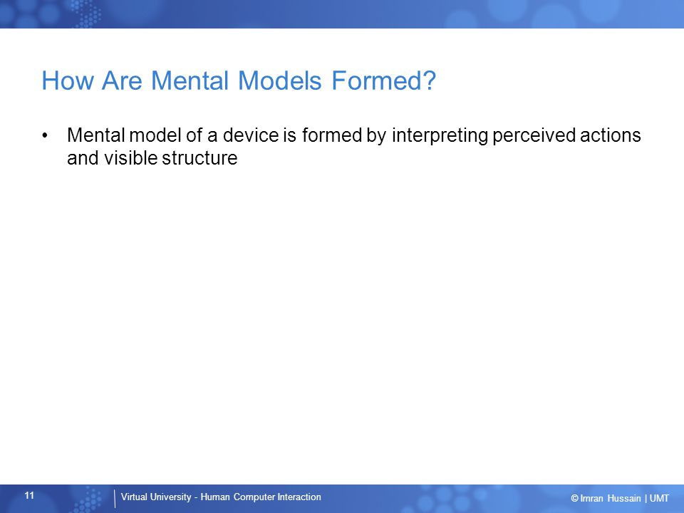 How Are Mental Models Formed
