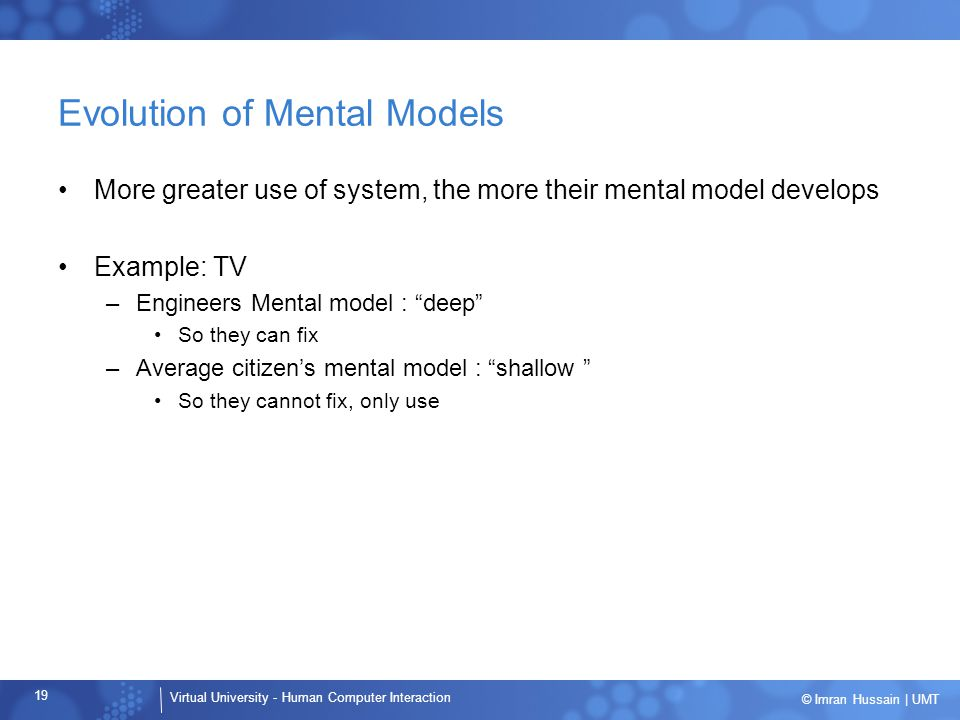 Evolution of Mental Models