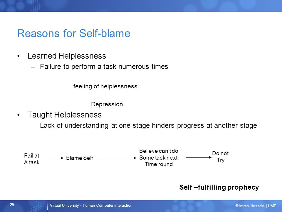 Reasons for Self-blame