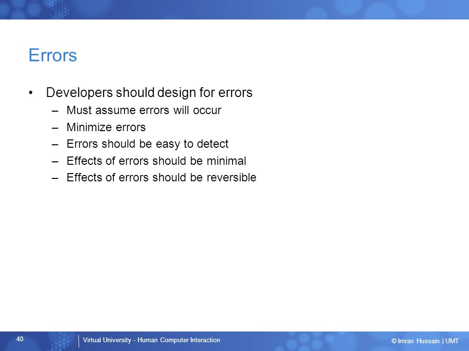 Errors Developers should design for errors