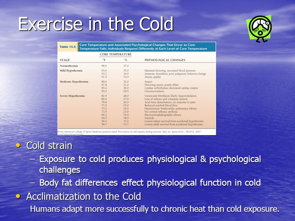 Exercise in the Cold Cold strain Acclimatization to the Cold