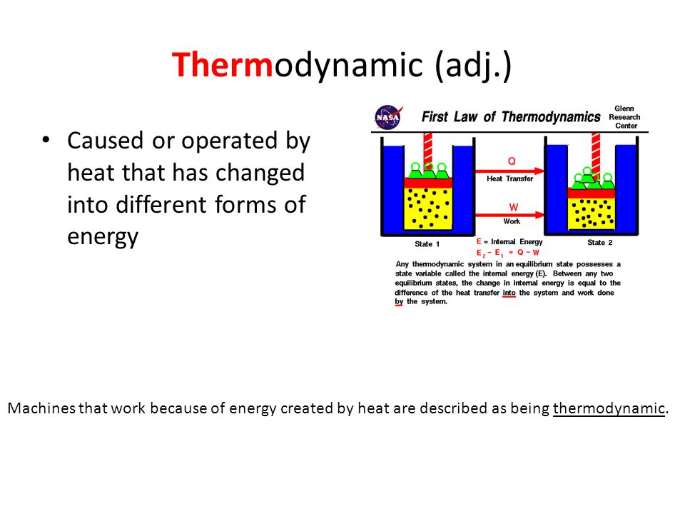 Thermodynamic (adj.) Caused or operated by heat that has changed into different forms of energy.