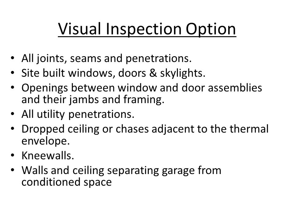 Visual Inspection Option