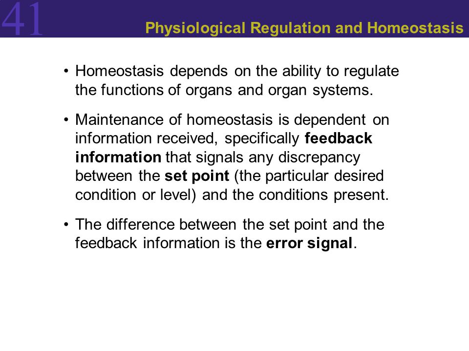 Physiological Regulation and Homeostasis