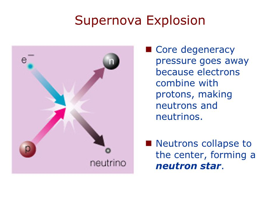Supernova Explosion Core degeneracy pressure goes away because electrons combine with protons, making neutrons and neutrinos.