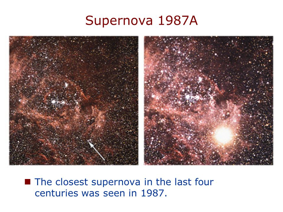 Supernova 1987A The closest supernova in the last four centuries was seen in 1987.