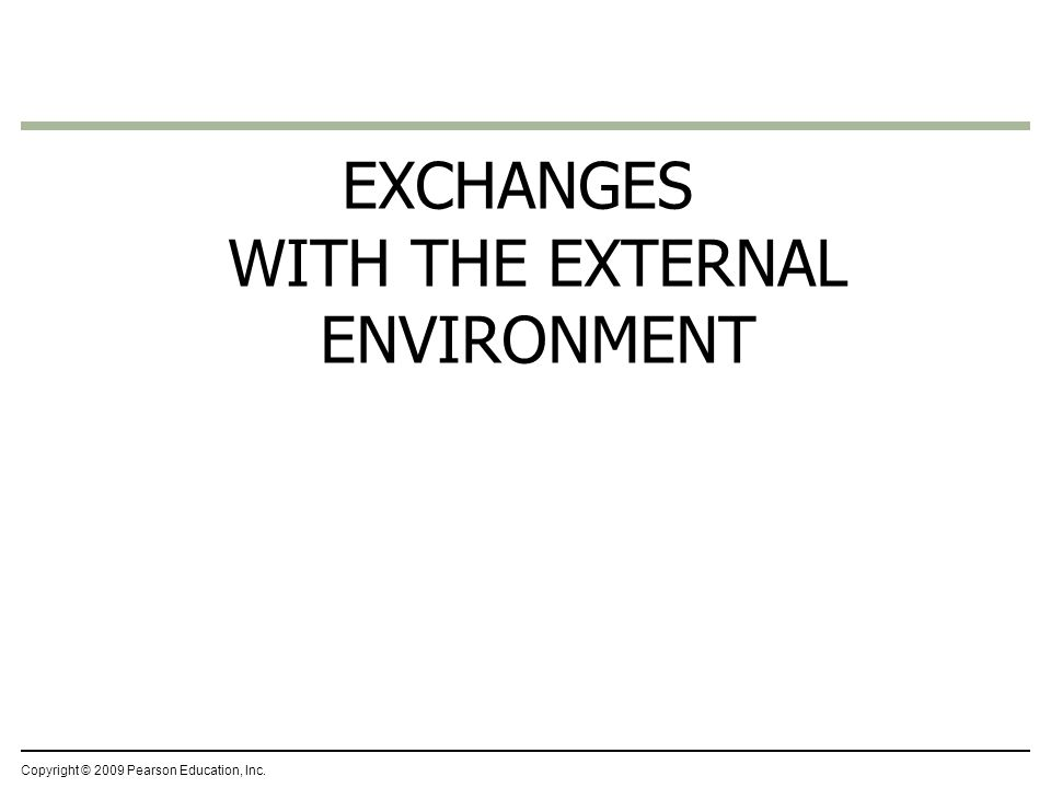 EXCHANGES WITH THE EXTERNAL ENVIRONMENT