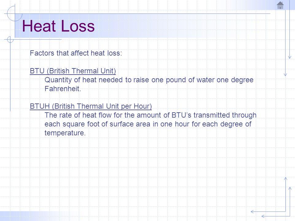 Heat Loss Factors that affect heat loss: BTU (British Thermal Unit)