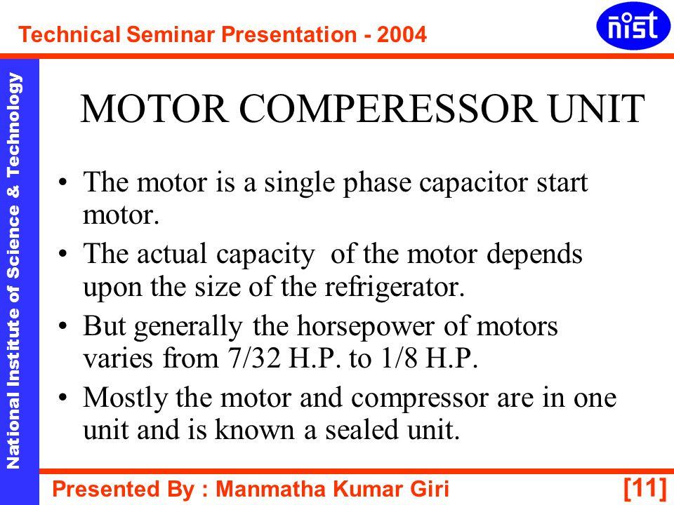 MOTOR COMPERESSOR UNIT