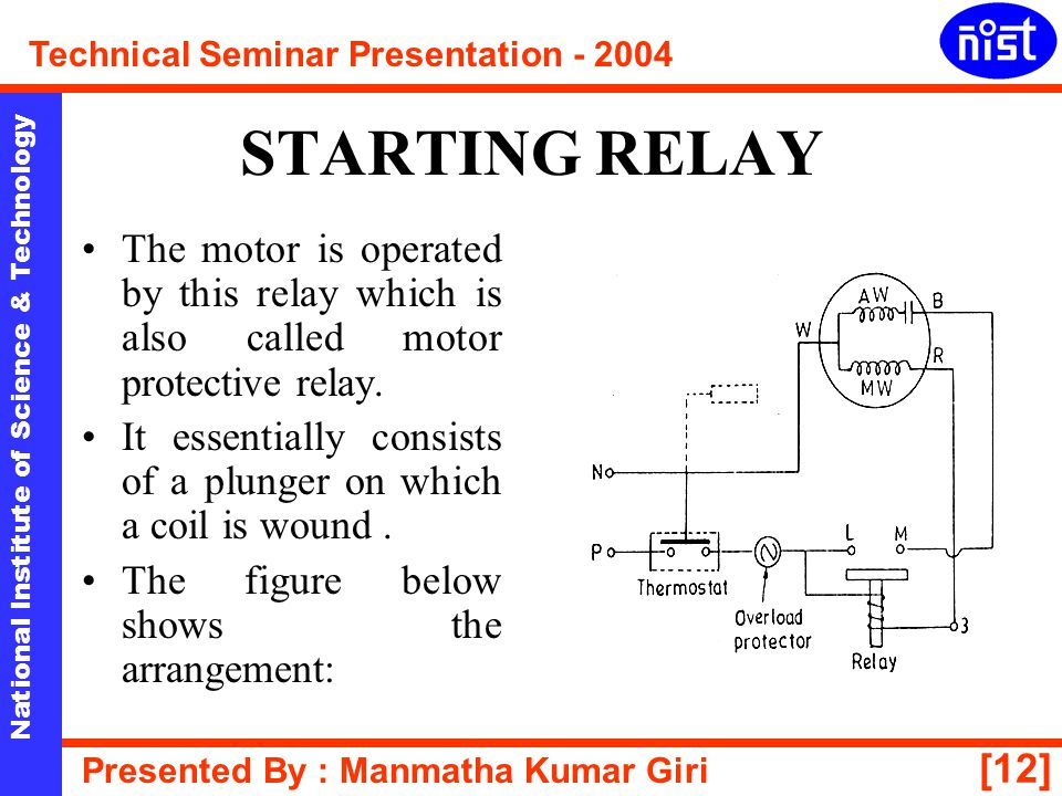 STARTING RELAY The motor is operated by this relay which is also called motor protective relay.