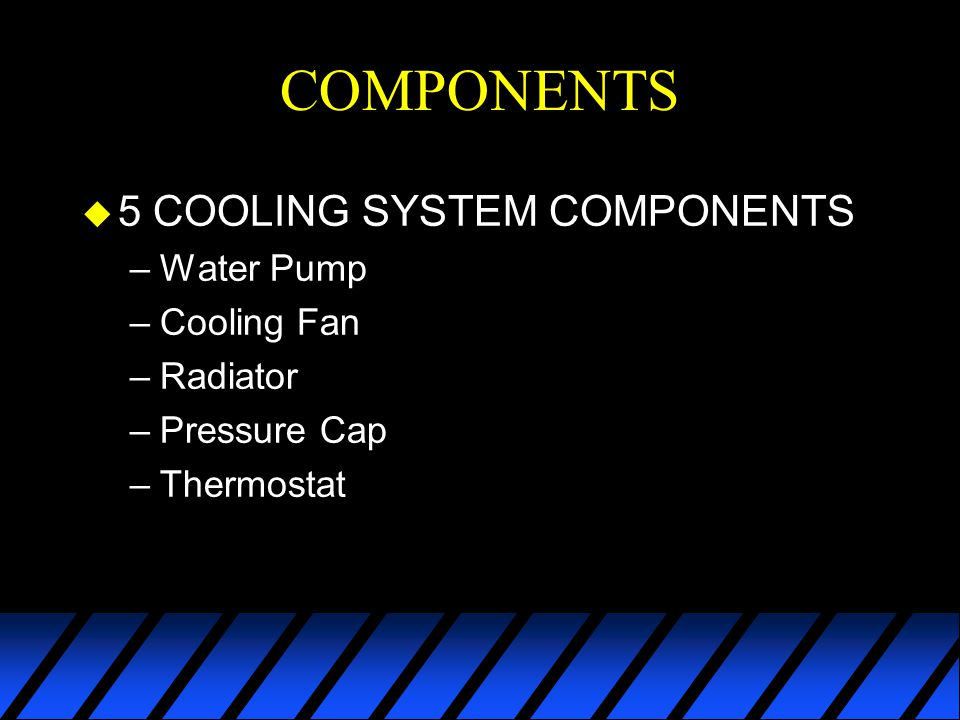 COMPONENTS 5 COOLING SYSTEM COMPONENTS Water Pump Cooling Fan Radiator