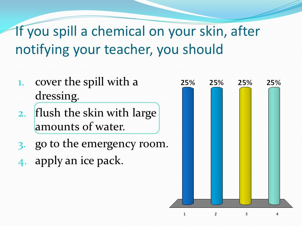 If you spill a chemical on your skin, after notifying your teacher, you should
