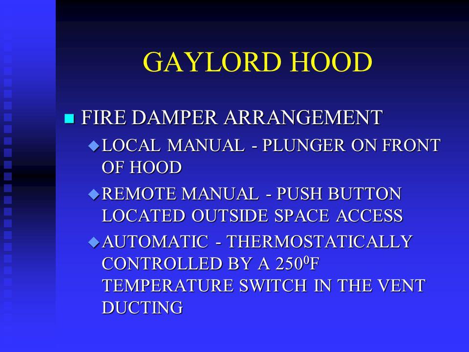 GAYLORD HOOD FIRE DAMPER ARRANGEMENT
