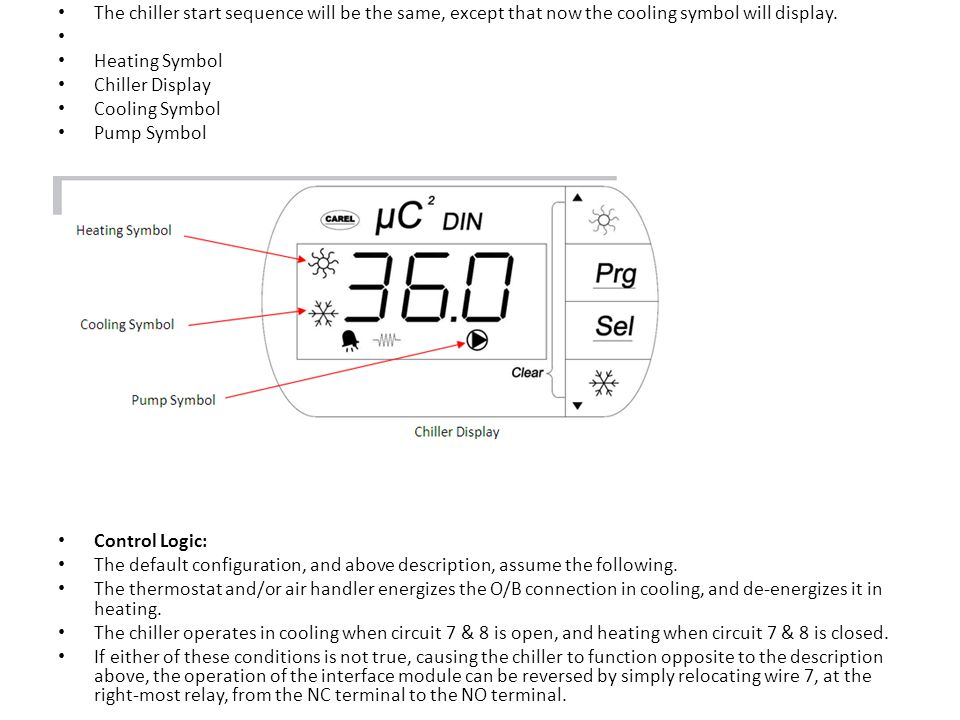 The chiller start sequence will be the same, except that now the cooling symbol will display.
