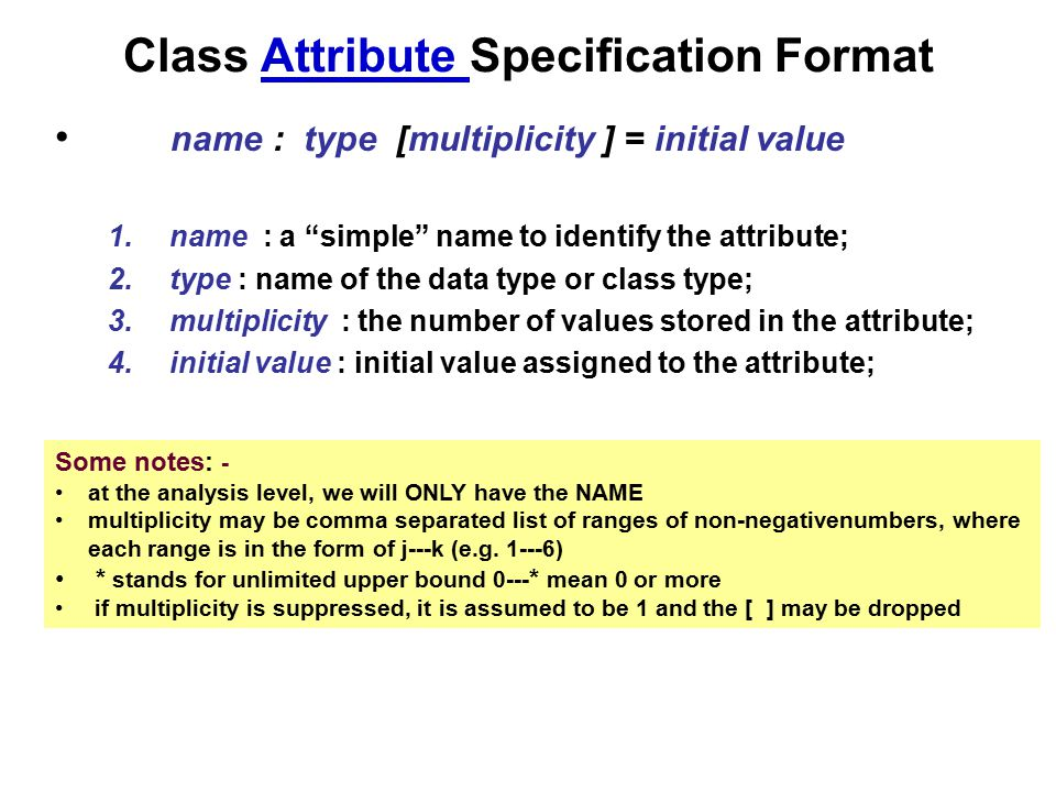 Class Attribute Specification Format