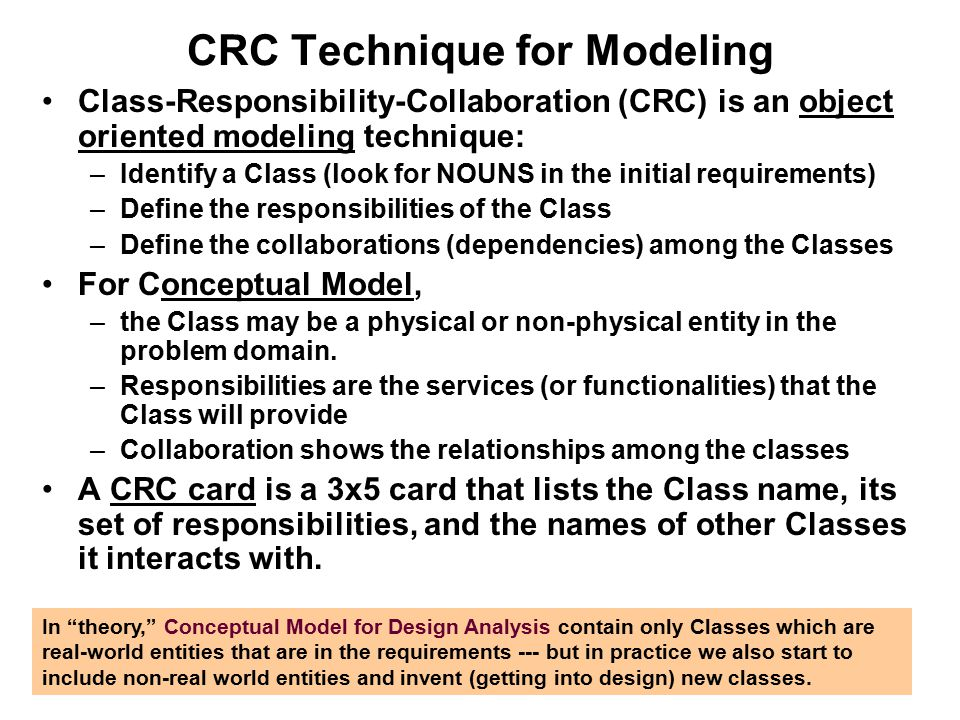 CRC Technique for Modeling