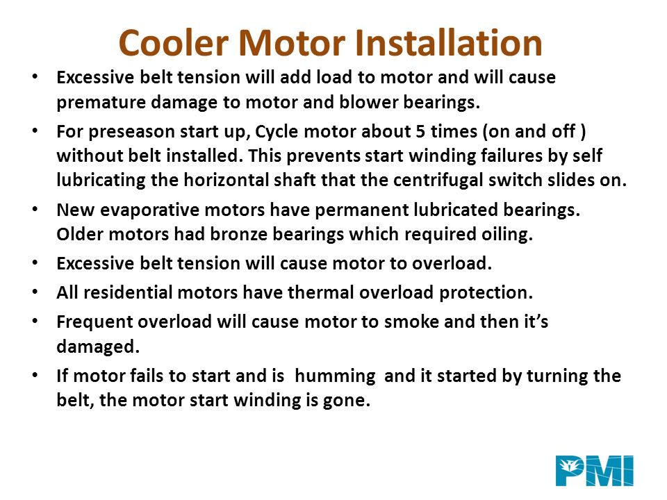 Cooler Motor Installation