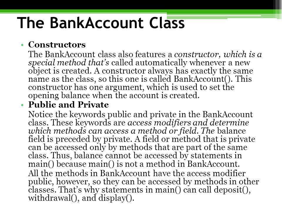 The BankAccount Class Constructors