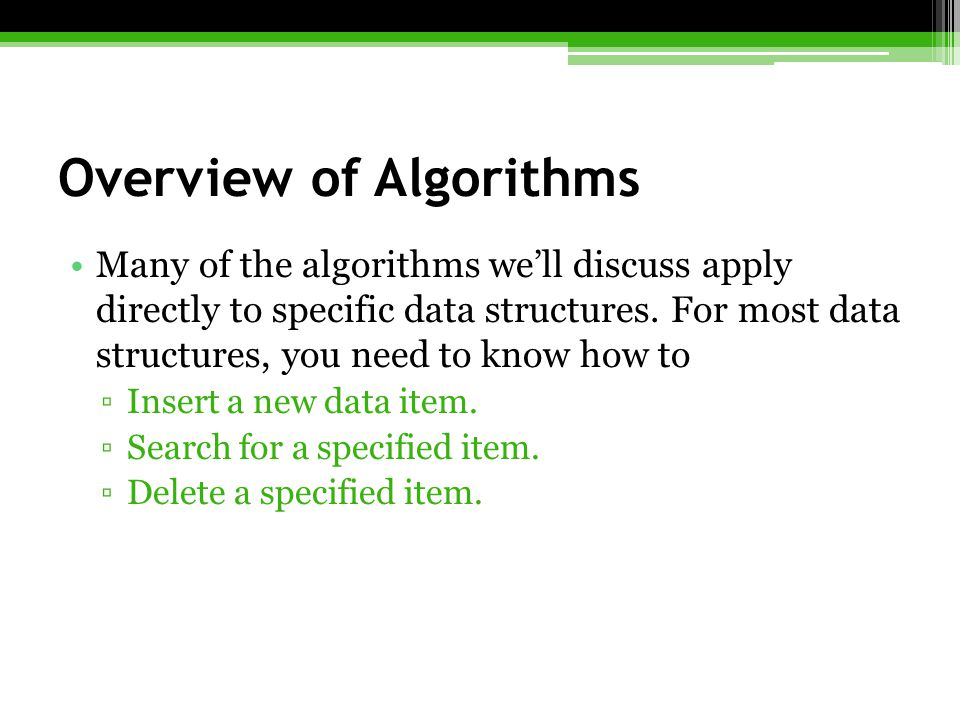Overview of Algorithms