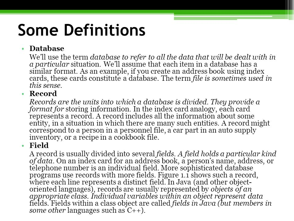 Some Definitions Database