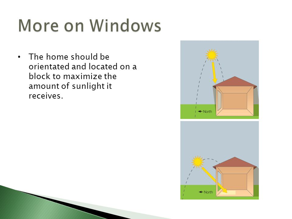More on Windows The home should be orientated and located on a block to maximize the amount of sunlight it receives.