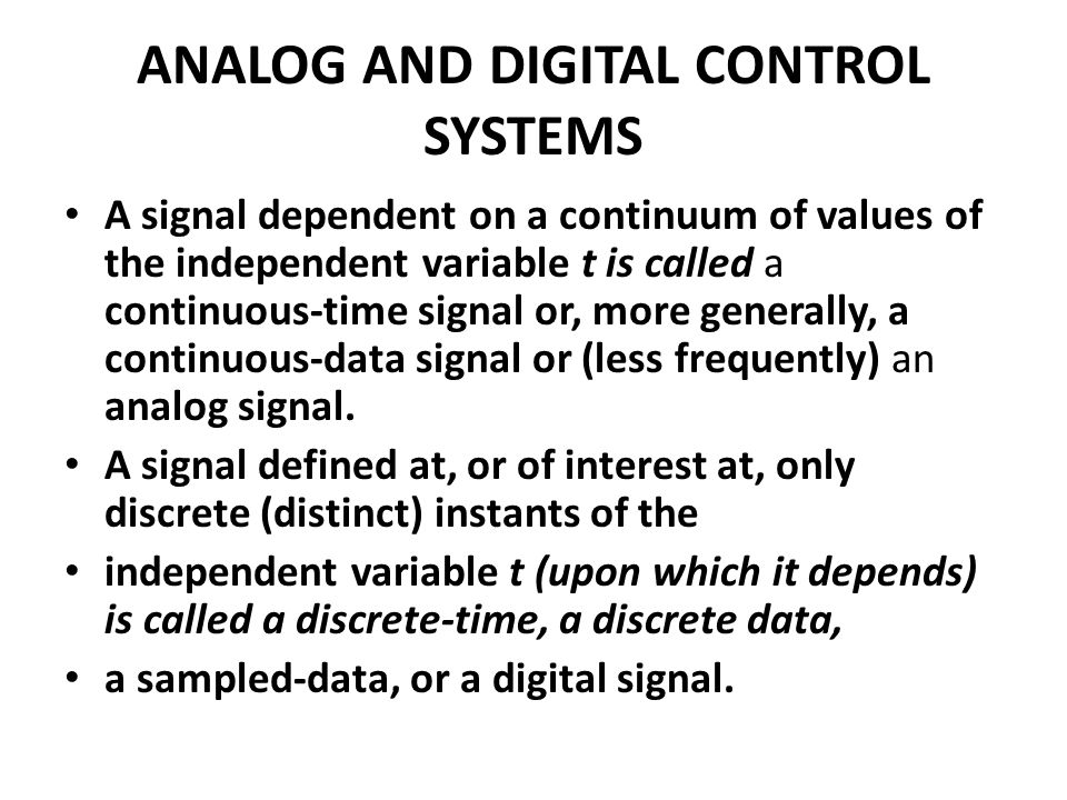 ANALOG AND DIGITAL CONTROL SYSTEMS