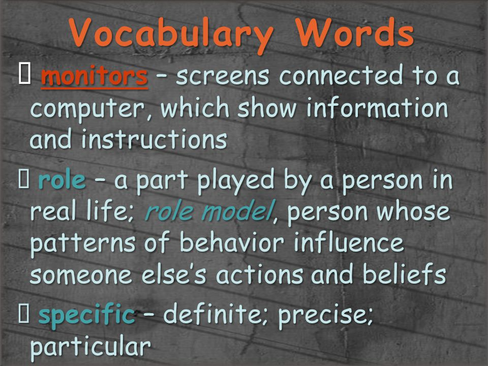 Vocabulary Words monitors – screens connected to a computer, which show information and instructions.
