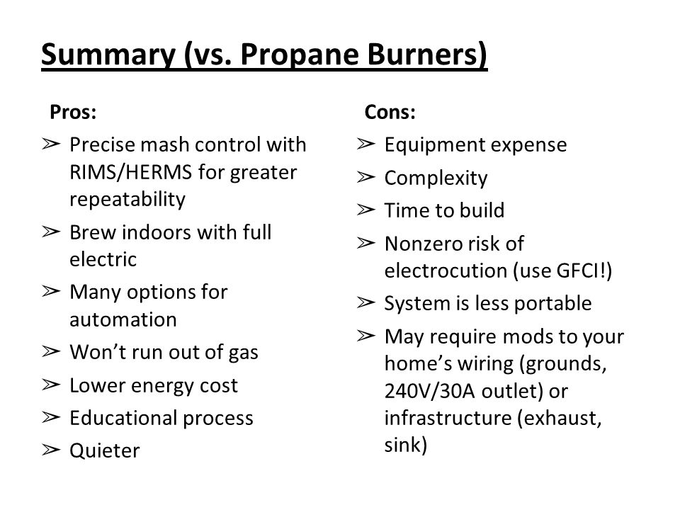 Summary (vs. Propane Burners)