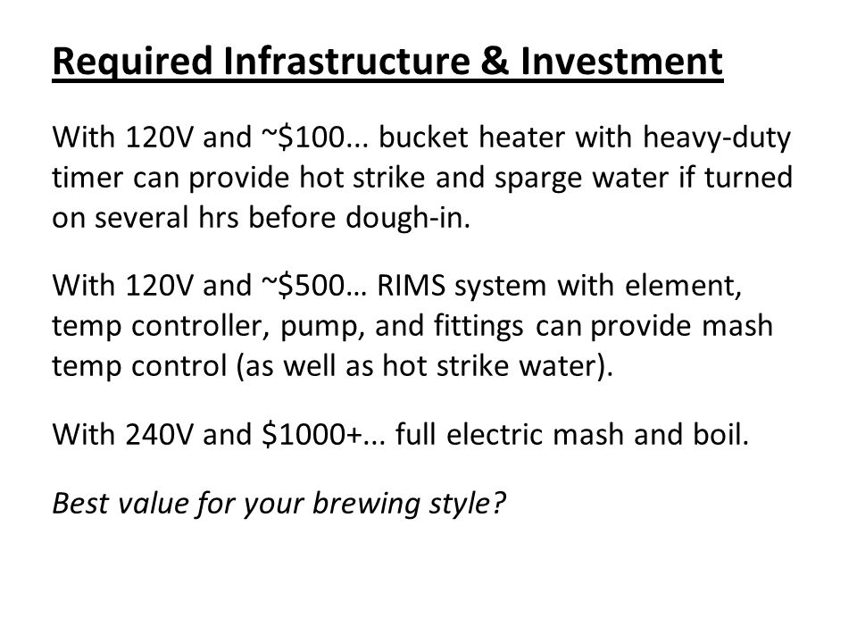 Required Infrastructure & Investment