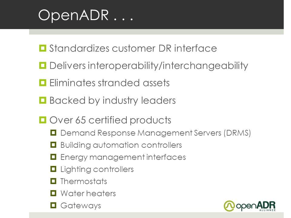 OpenADR . . . Standardizes customer DR interface