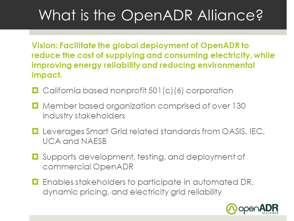 What is the OpenADR Alliance