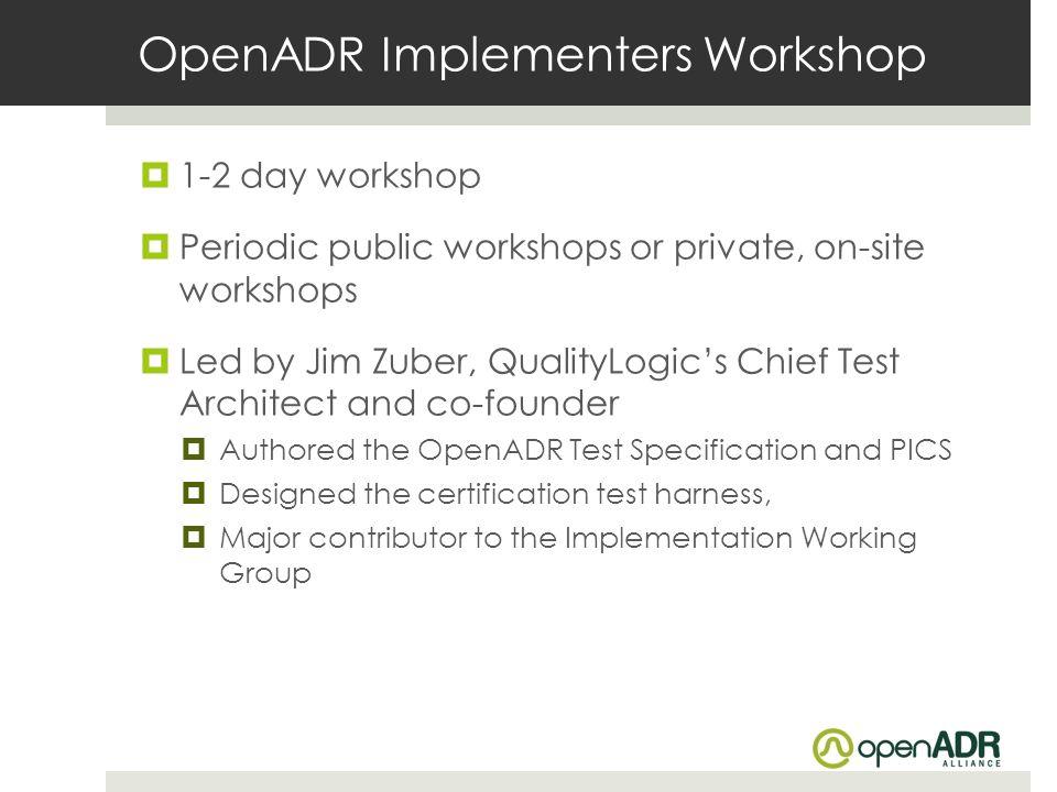 OpenADR Implementers Workshop