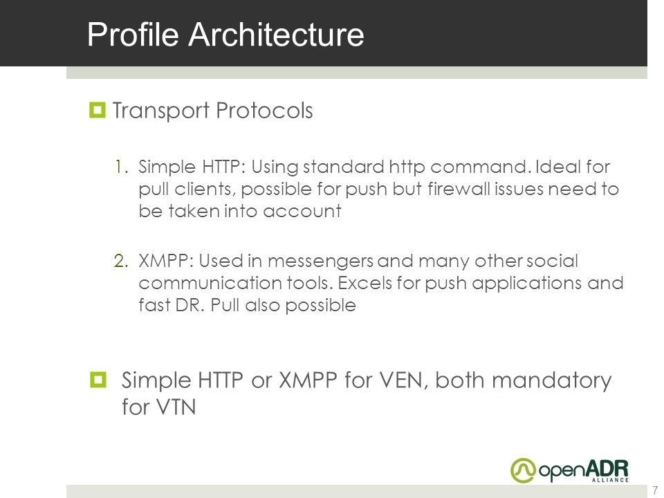 Profile Architecture Transport Protocols