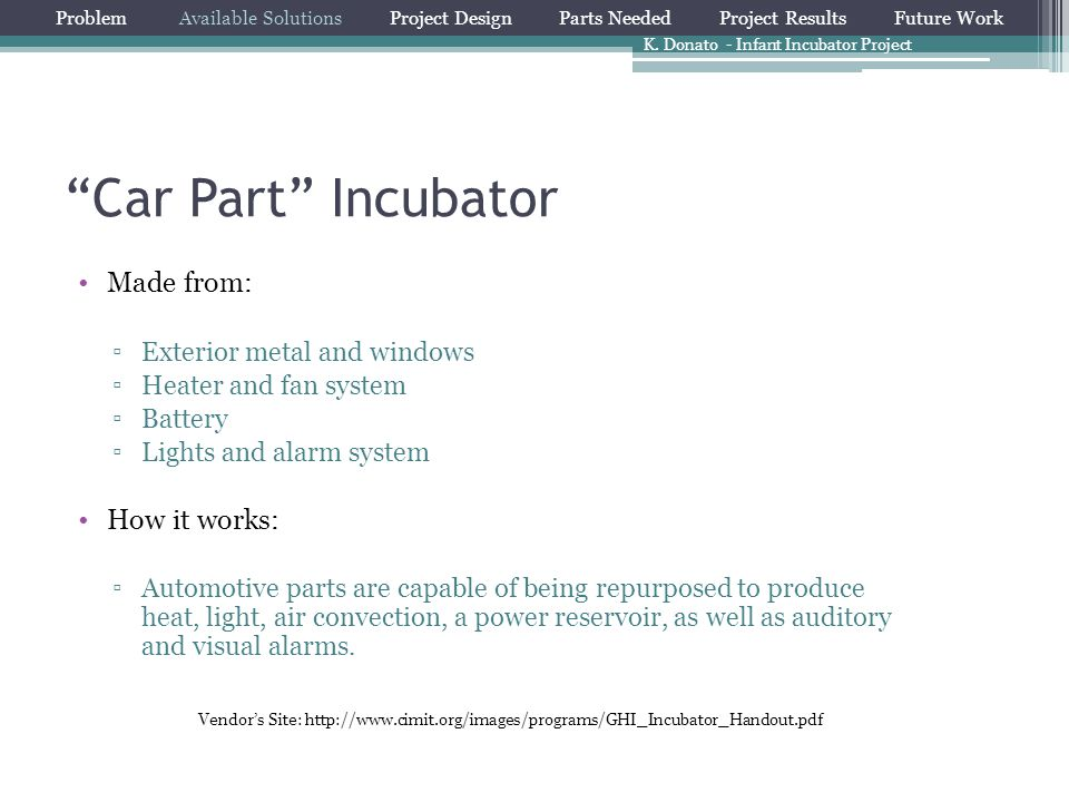Car Part Incubator Made from: How it works: