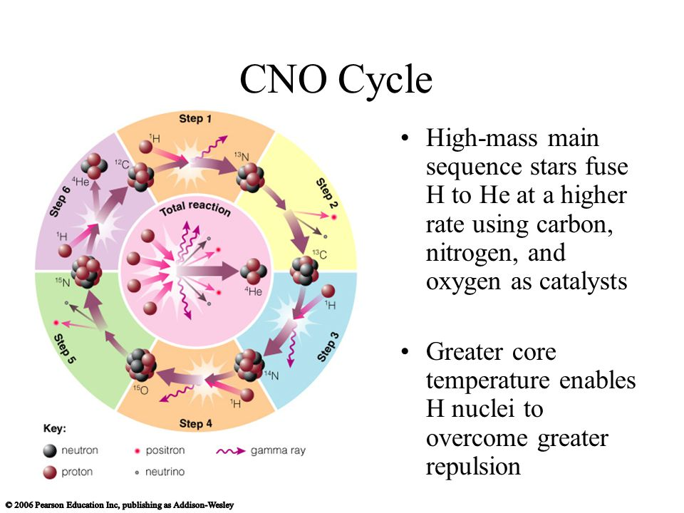 CNO Cycle High-mass main sequence stars fuse H to He at a higher rate using carbon, nitrogen, and oxygen as catalysts.