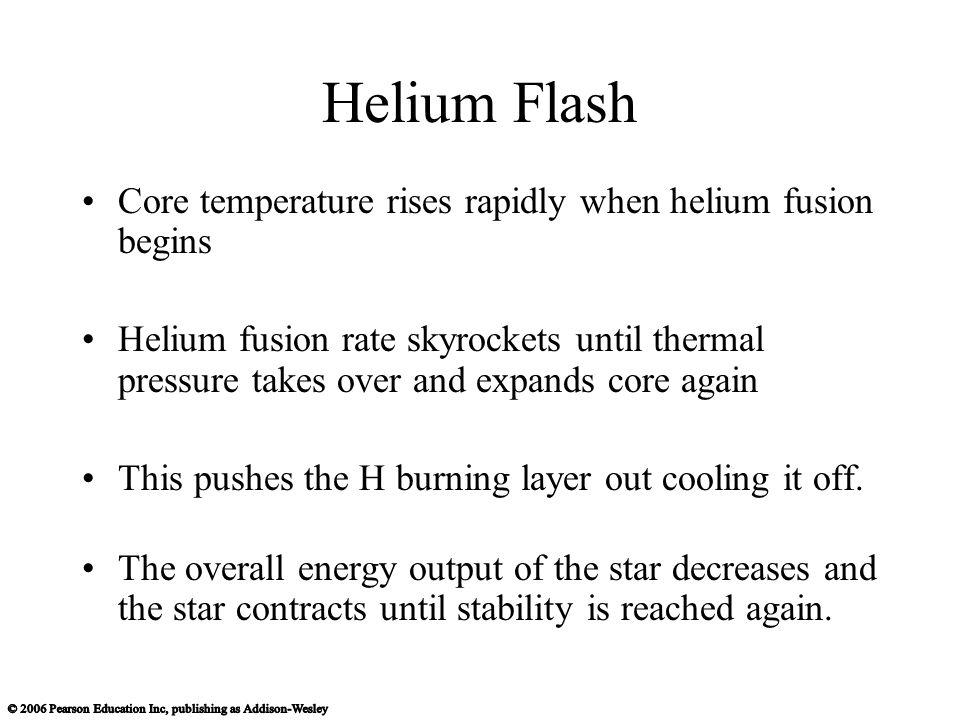 Helium Flash Core temperature rises rapidly when helium fusion begins