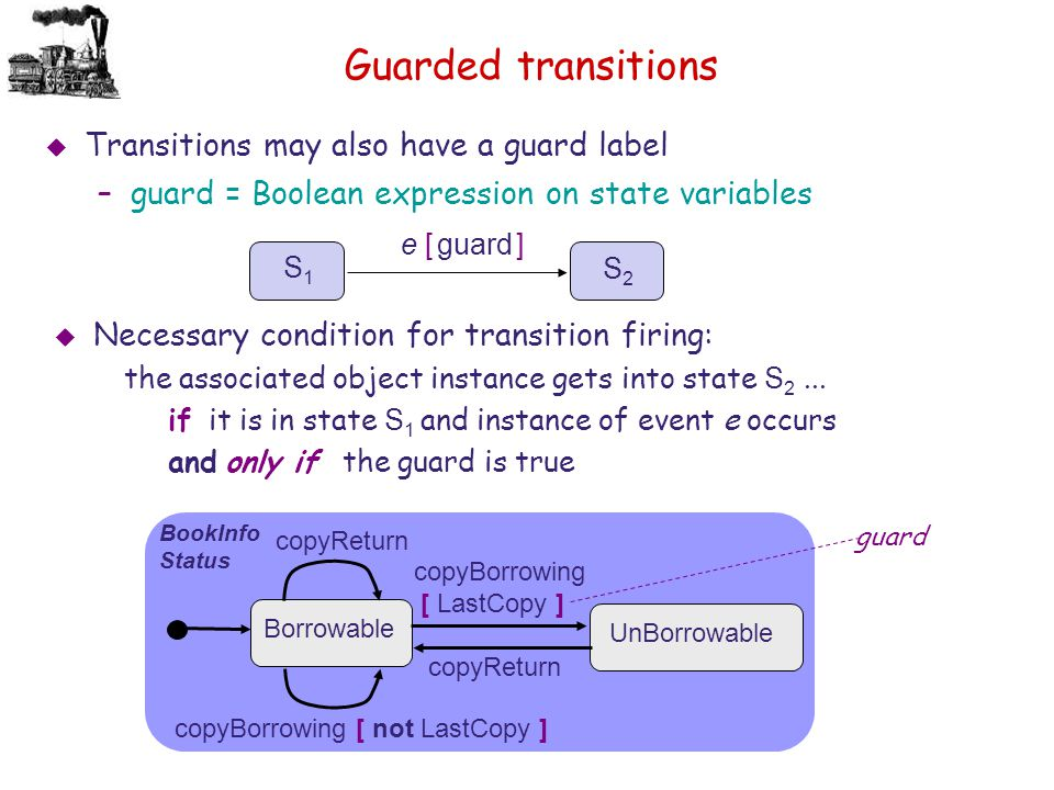 Guarded transitions Transitions may also have a guard label