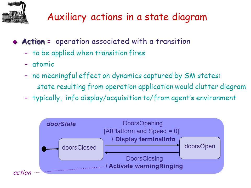Auxiliary actions in a state diagram