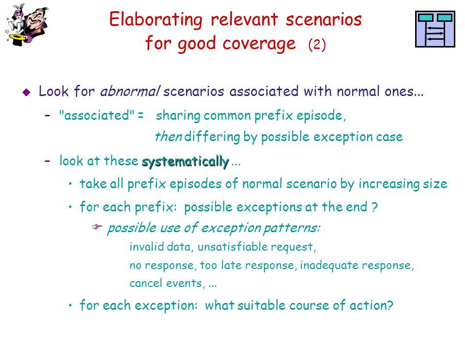 Elaborating relevant scenarios for good coverage (2)