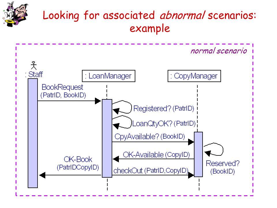 Looking for associated abnormal scenarios: example