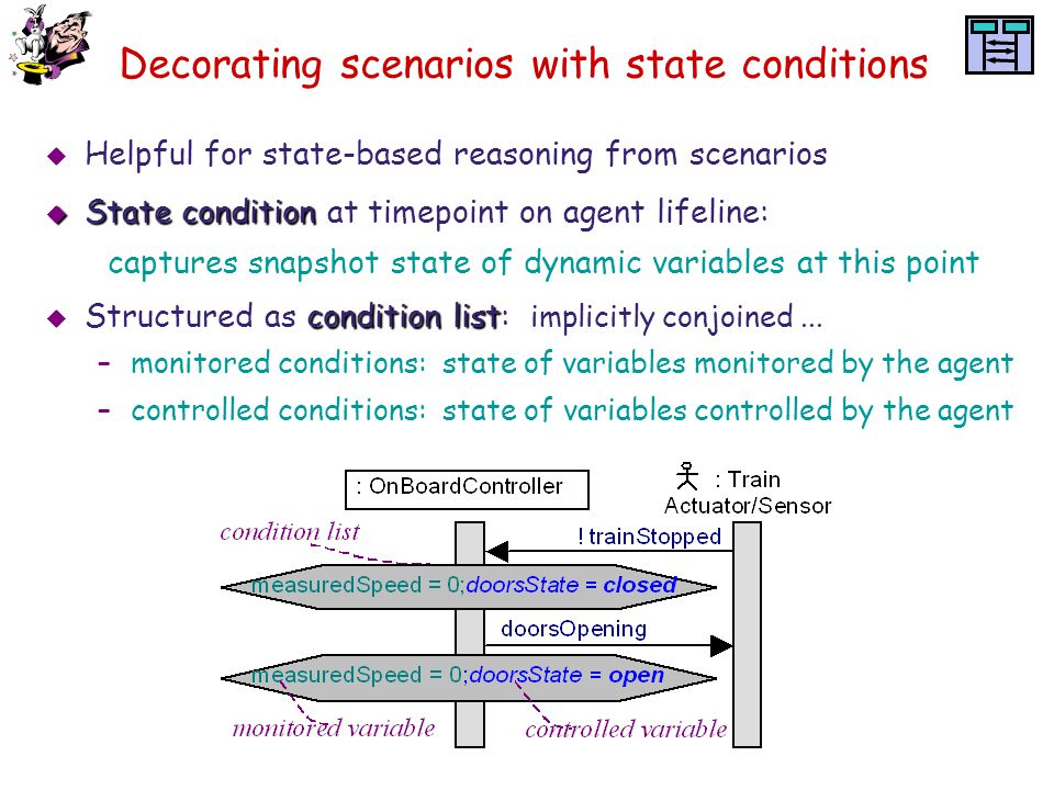 Decorating scenarios with state conditions