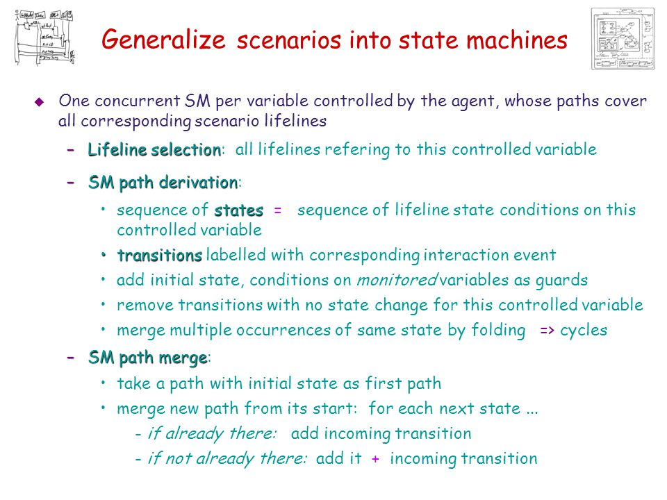 Generalize scenarios into state machines