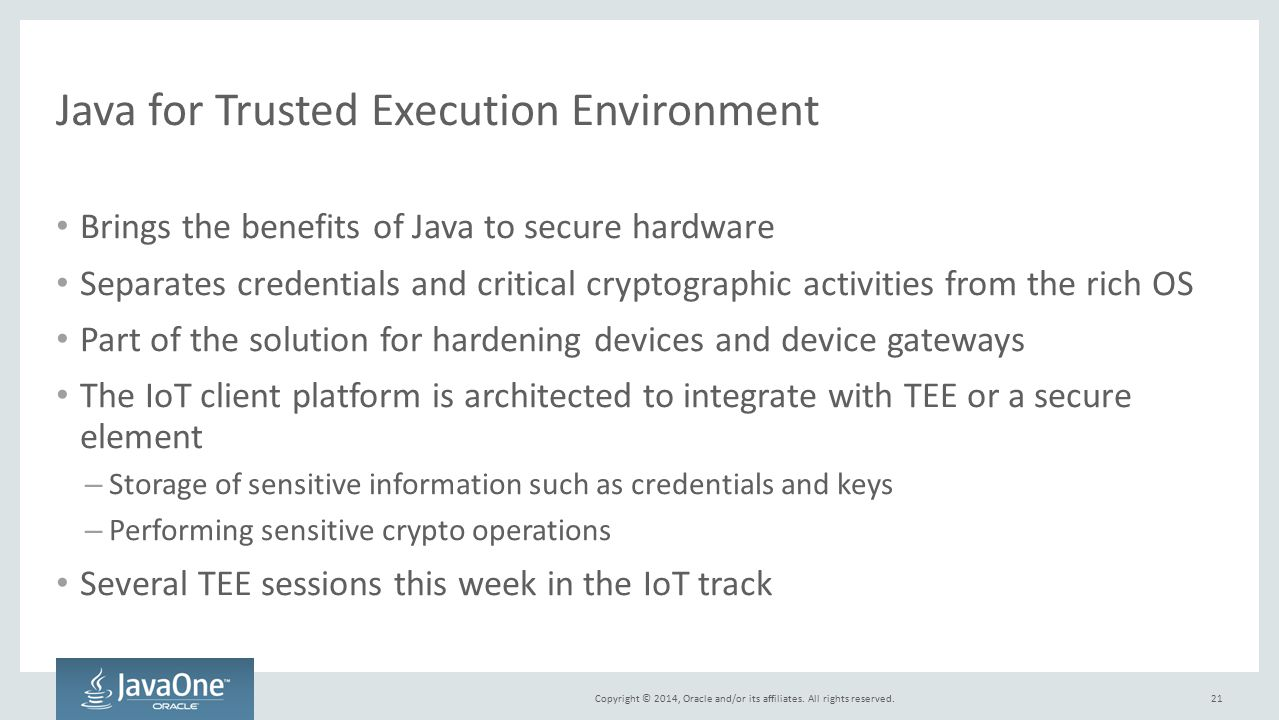 Java for Trusted Execution Environment