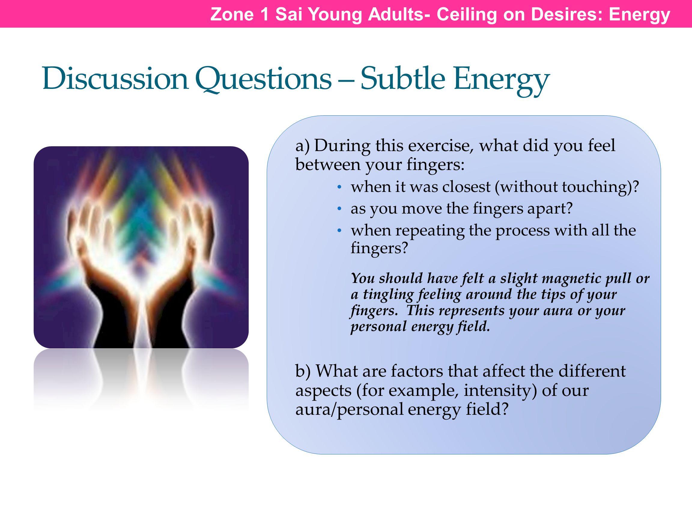 Discussion Questions – Subtle Energy