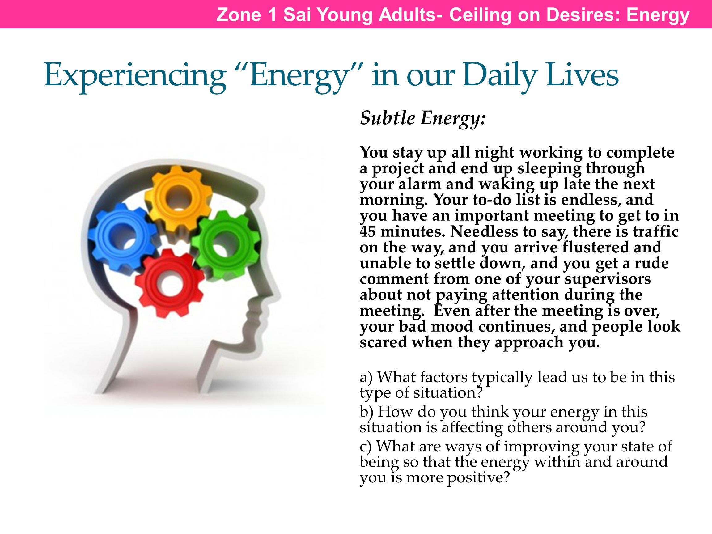 Experiencing Energy in our Daily Lives