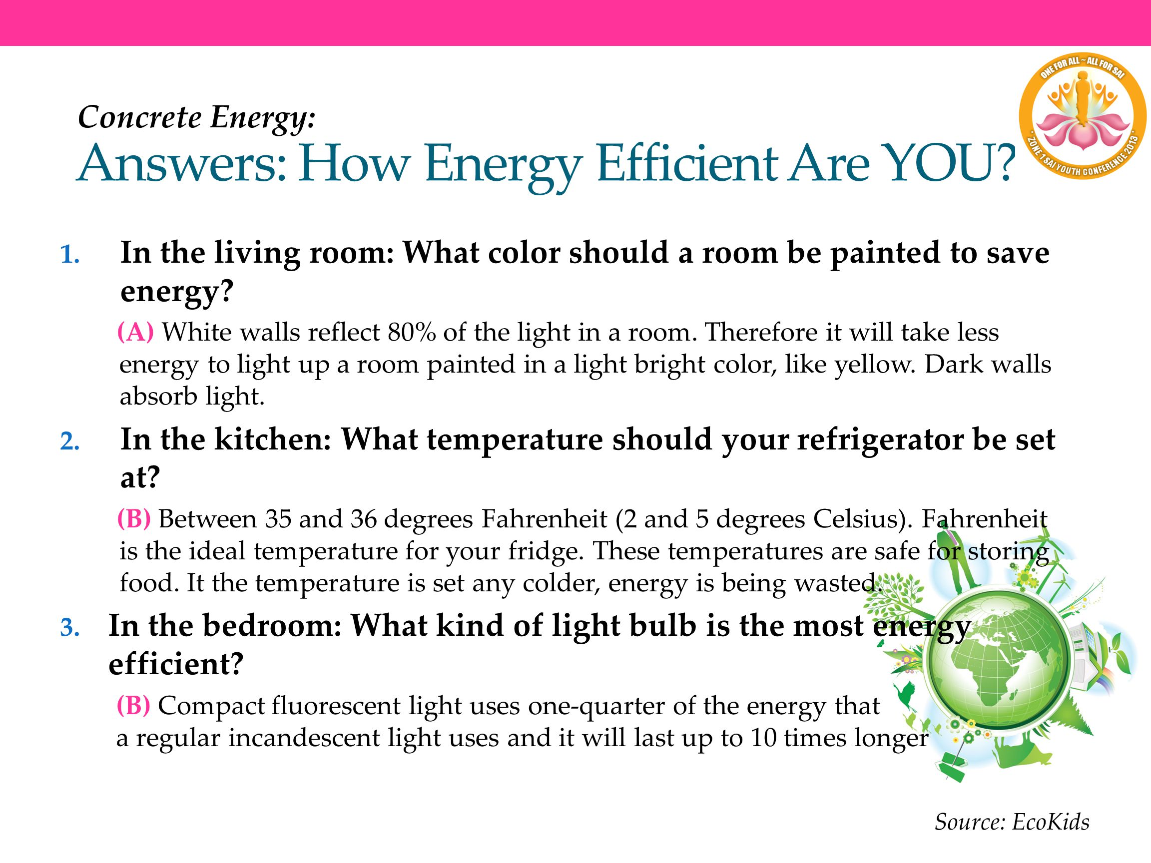 Answers: How Energy Efficient Are YOU