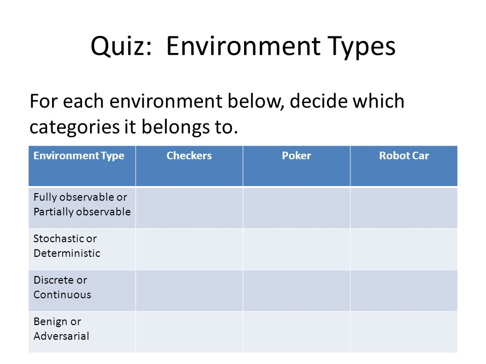 Quiz: Environment Types