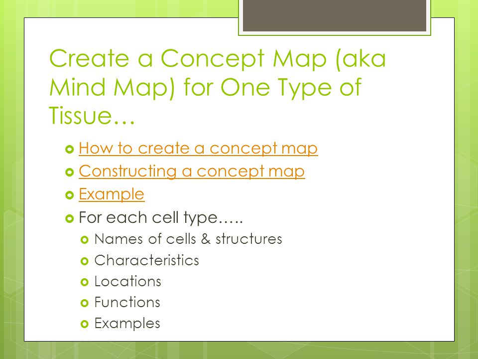 Create a Concept Map (aka Mind Map) for One Type of Tissue…