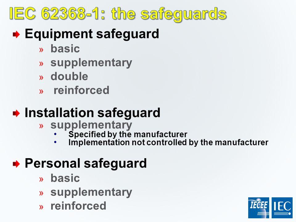 IEC 62368-1: the safeguards Equipment safeguard Installation safeguard