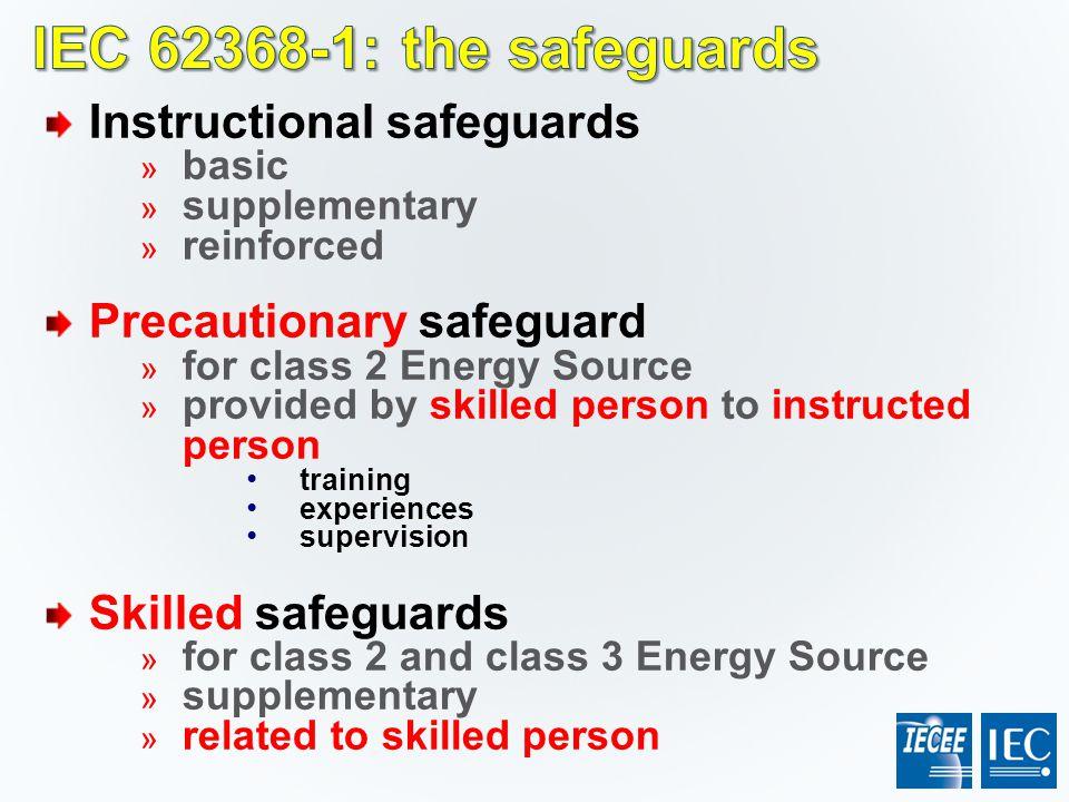 IEC 62368-1: the safeguards Instructional safeguards